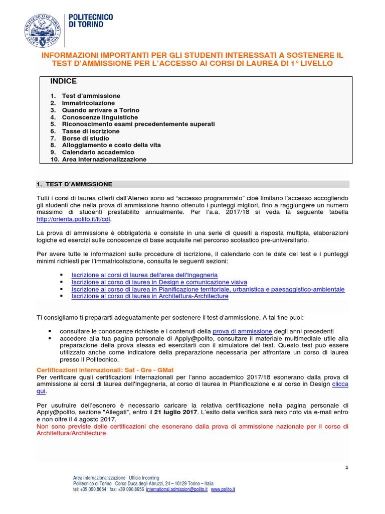 Calendario Polito.2018 Proc Ammessi L It