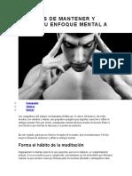 4 Formas de Mantener y Afilar Tu Enfoque Mental a Diario