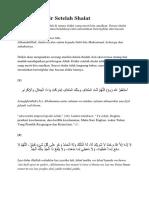 Bacaan Dzikir Setelah Shalat