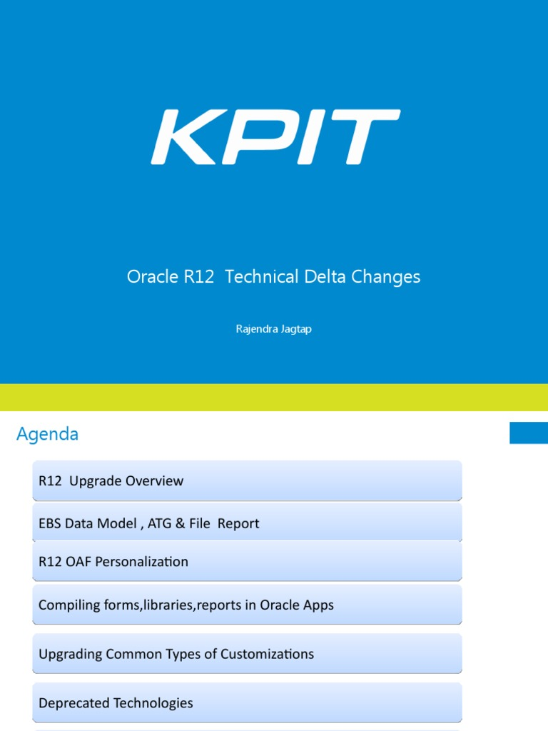 R12 Technical Changes | Oracle Database | Oracle Corporation