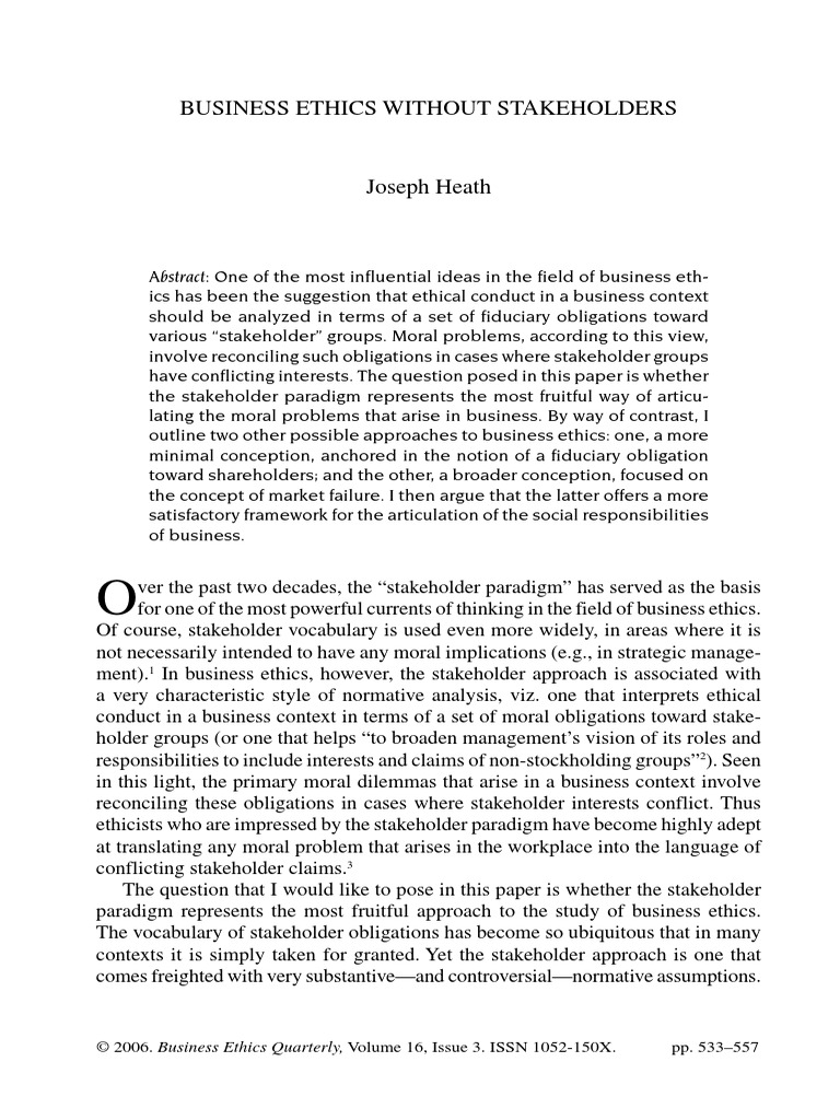 joseph heath business ethics without stakeholders