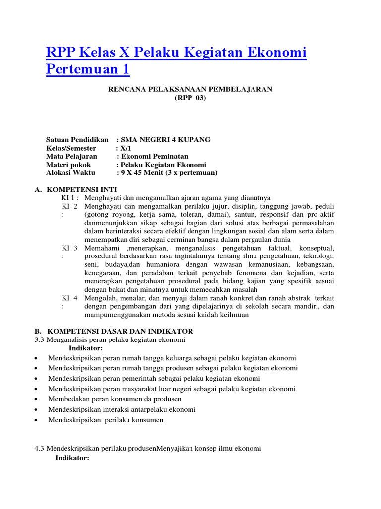Rpp kelas x pelaku kegiatan ekonomi metode role playing ccuart Image collections