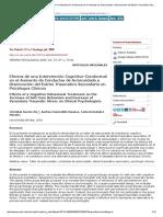 Efectos de Una Intervención Cognitivo-Conductual en El Aumento de Conductas de Autocuidado y Disminución Del Estrés Traumático Secundario en Psicólogos Clínicos