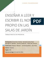 TRABAJO PRÁCTICO No Presencial -Curso Leer y Escribir El Nombre Propio - CIIE