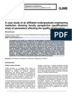 A case study of an affiliated undergraduate engineering institution showing faculty perspective (qualifications wise) of parameters affecting the quality of education