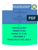 Trabajo Legislación Ambiental Sobre El Uso, Control, Vigilancia Del Agua