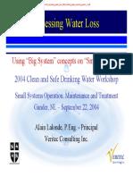10 Assessing Water Loss 2004 Drinking Water Worshop Gander, Nl