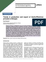 Trends in production and export of Gesho/Rhamnus prinoids in Ethiopia