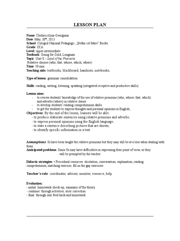 Relative dating lesson plan