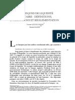 123 Les Risques de Liquidite Bancaire Definitions Interactions Et Reglementation