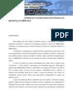 Territórios Fronteriços e Os Processos de Integração Regional No Mercosul