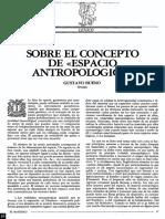 Sobre El Concepto de Espacio Antropologico. Gustavo Bueno