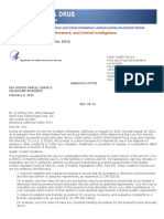 2012 FDA - Warning Letter to Home Care Technologies USA, Inc