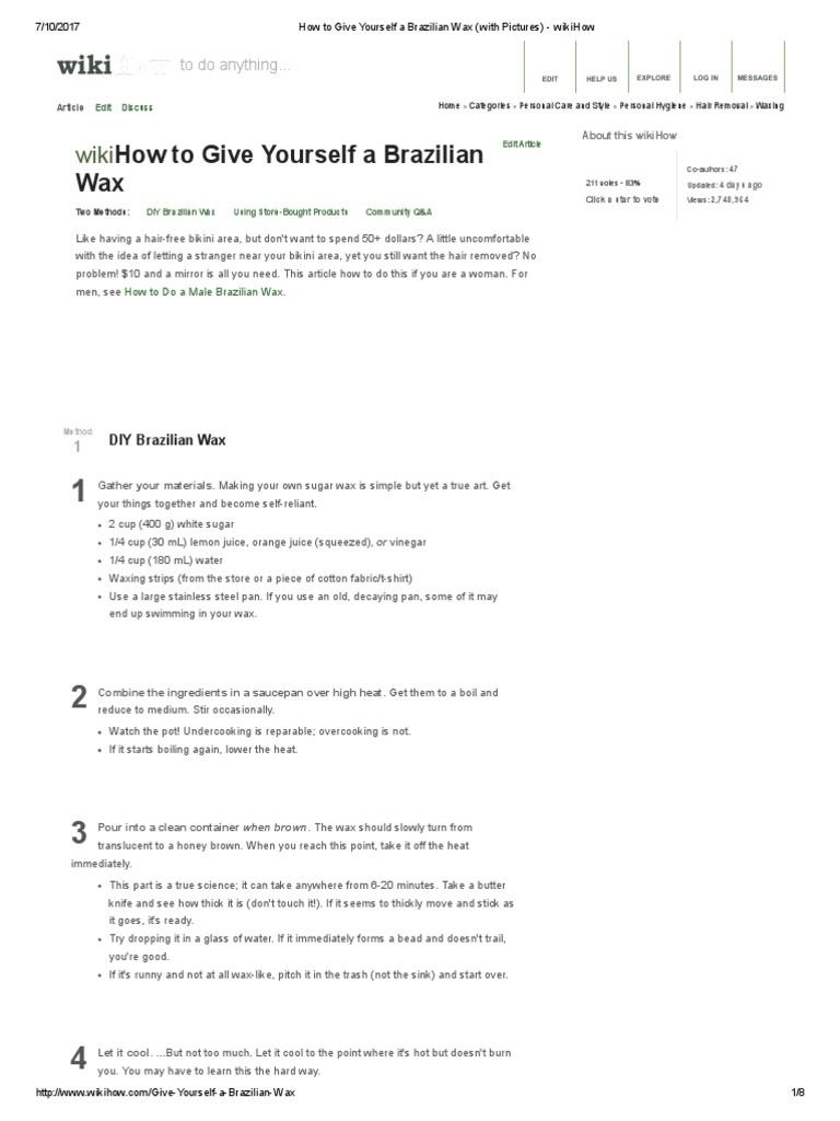 Make your own bikini wax