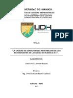 La  Calidad de Servicio en la Rentabilidad de los Restaurantes de la ciudad de Huanuco 2017
