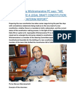 """Dr. Jayampathy Wickramaratne PC says  """"WE CAN'T PREPARE A LEGAL DRAFT CONSTITUTION WITHOUT AN INTERIM REPORT"""".docx"""