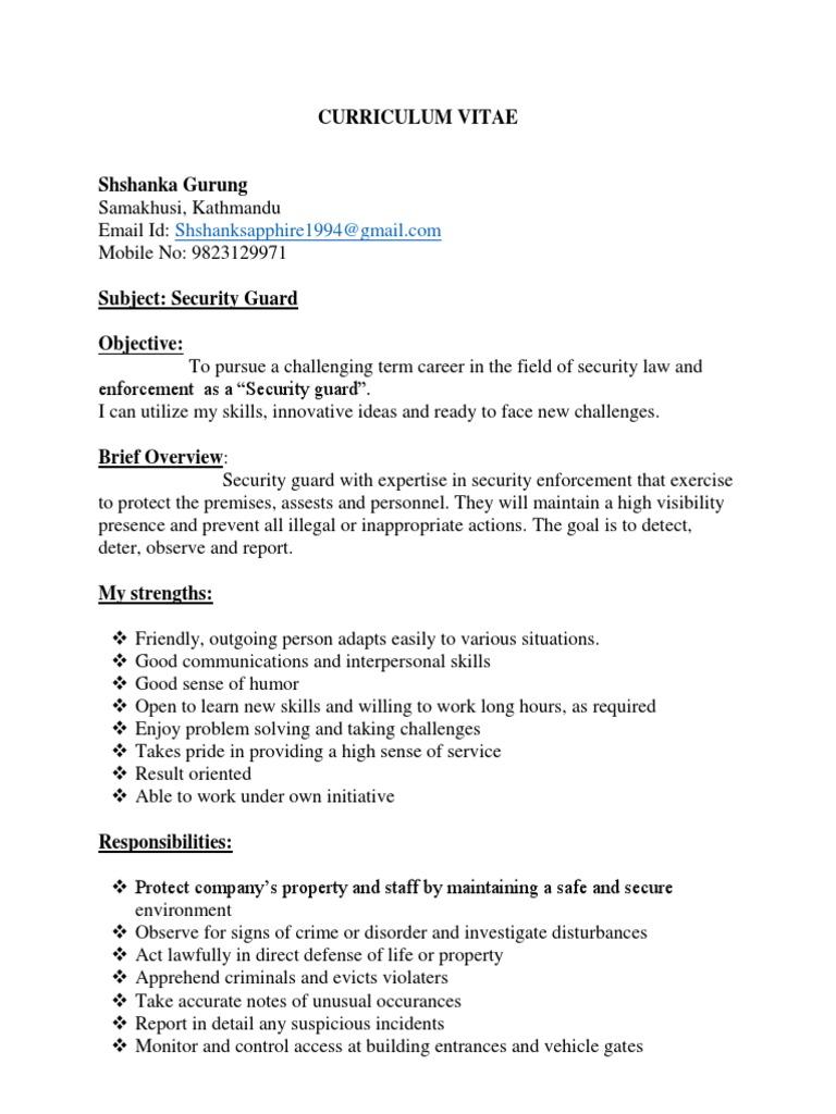 Curriculum Vitae Security Guard Cognition