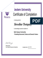 Shreedhar Safe Campus Community Certificate