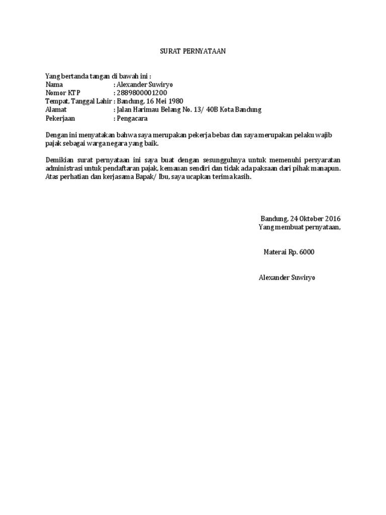 Contoh Surat Pernyataan Pekerja Bebas Untuk Npwp