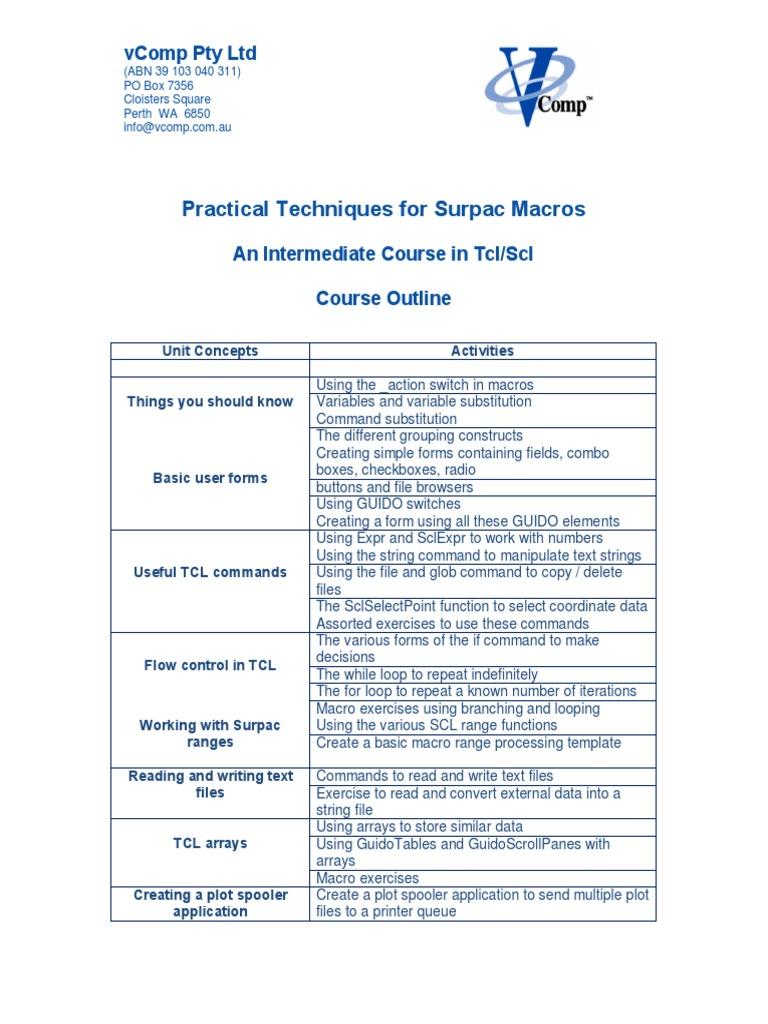 Practical Techniques for Sur Pac Macros Outline   Control Flow (11