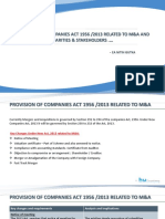 Objections by regularities & stakeholders related to M & A w.r.t. Companies Act 1956/2013