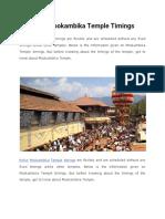 Kollur Mookambika Temple Timings