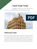 Siddhivinayak Temple Timings