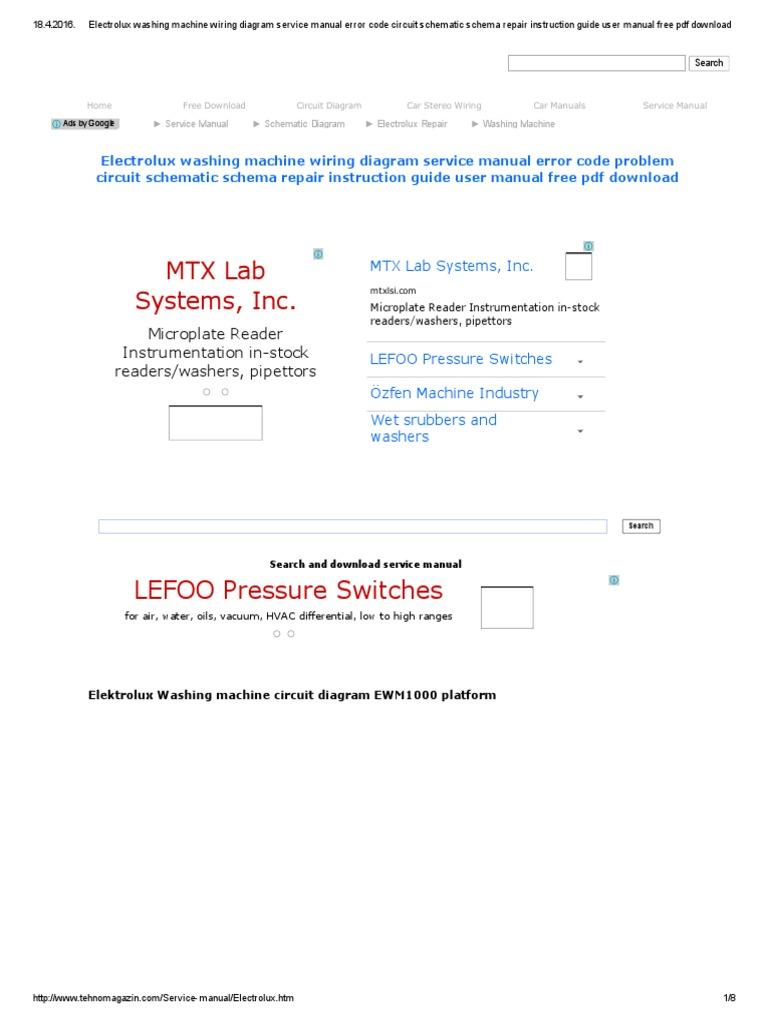 Cool Electrolux Washing Machine Wiring Diagram Service Manual Error Code Wiring Digital Resources Timewpwclawcorpcom