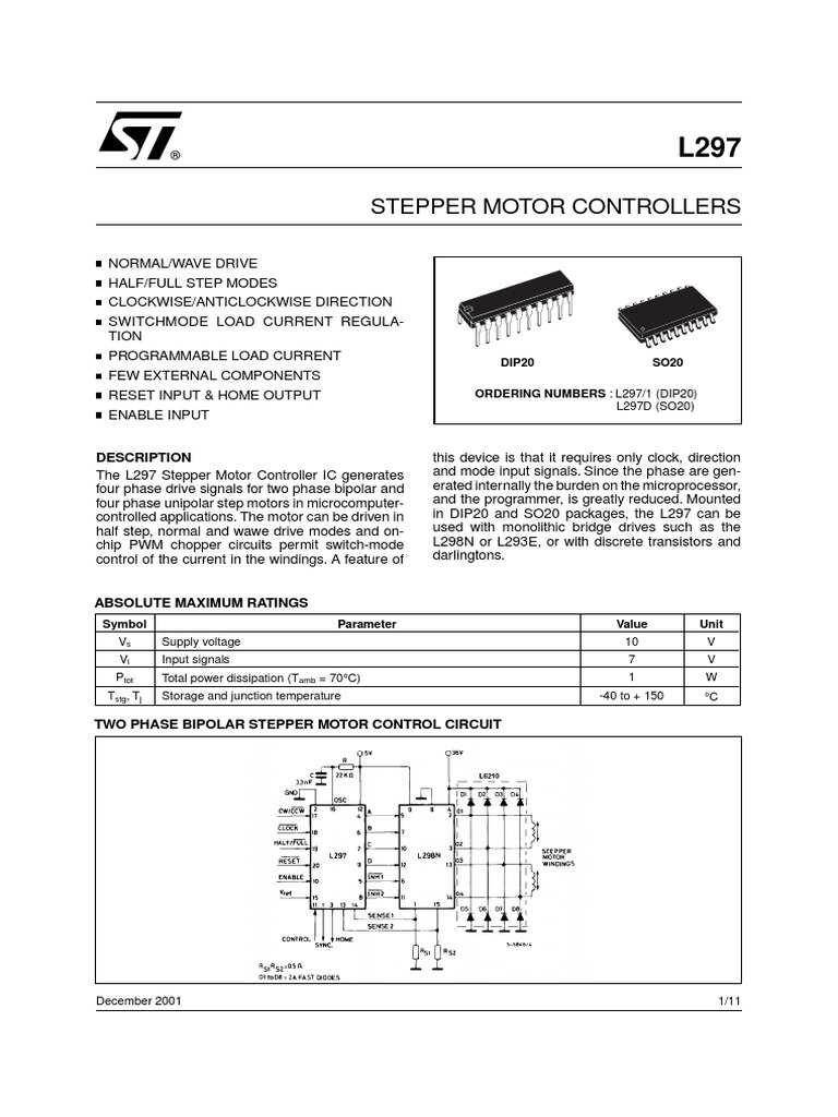Data Sheet L297pdf Electrical Circuits Components Bipolar Stepper Motor Control