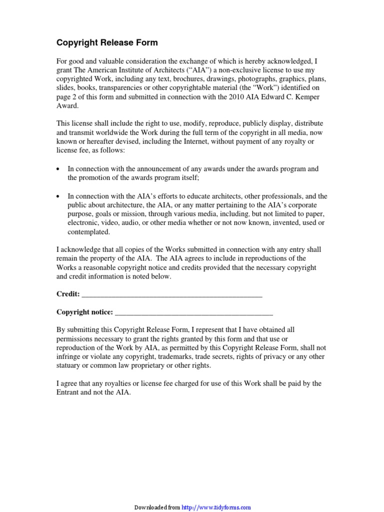 Copyright Release Form 1 | Copyright | Architect