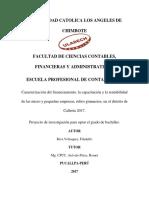 tesis. caracterizacion y financiamientos de las micro y pequñas empresas, rubro gimnasios del distrito de calleria 2017
