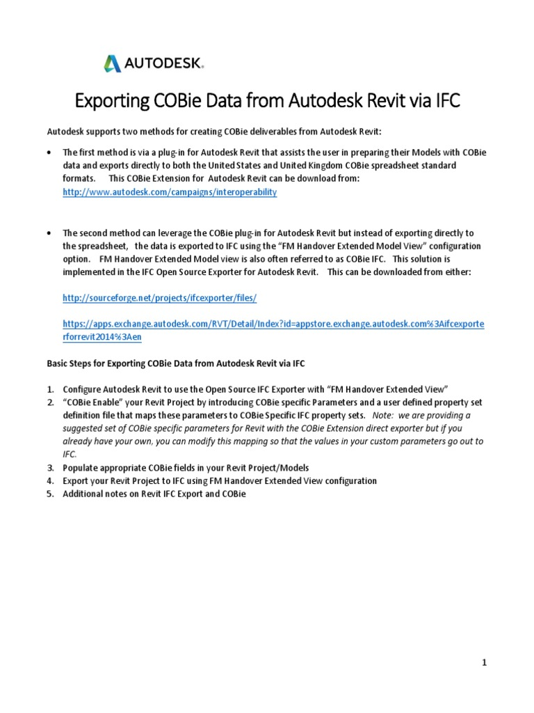 Notes Revit IfcExporter support for COBie from IFC - v1 0