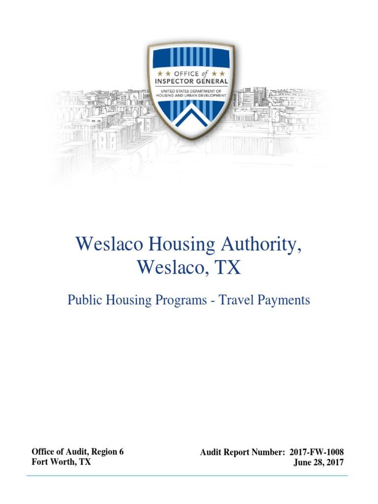 2017 audit of the Weslaco Housing Authority, Weslaco, TX