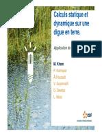 calcul dynamique et statique sur une digue