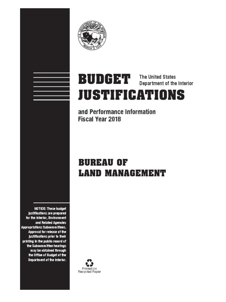 fy2018 blm budget justification (1) bureau of land management