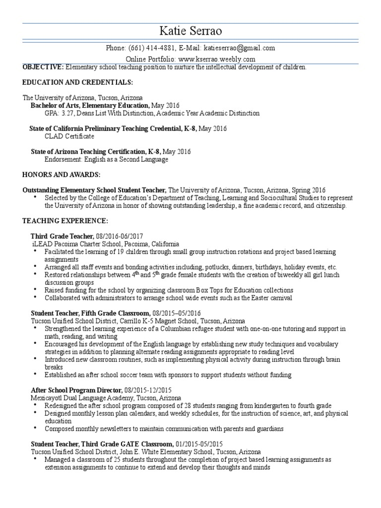 Teaching Resume7 17 Project Based Learning Teachers
