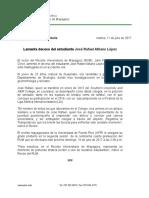 Comunicado-Rector del RUM lamenta deceso del estudiante José Rafael
