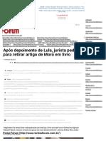 Após Depoimento de Lula, Jurista Pede Para Retirar Artigo de Moro Em Livro - Portal Fórum