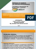 Diapositivas Evasión de impuestos e incumplimiento en pago de la Renta de primera categoría en san Luis sector 2 del distrito de Amarilis – Huánuco