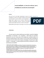 (2013) SIGNATES Epistemologia e Comunicabilidade as Crises Das Ciências Ante a Perspectiva Da Centralidade Do Conceito de Comunicação Texto Para Comunicação e