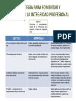 Estrategia Para Fomentar y Garantizar La Integridad Profesional