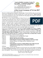 Invitation Letter of the Great Ceremony of Vu Lan 2017