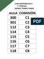 DISTRIBUCION  DE AULAS PARA 1° PARCIAL_AM 1_2017