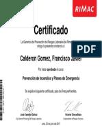 Constancia_Prevención de Incendios y Planes de Emergencia_Calderon Gomez