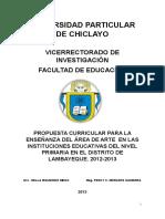 propuestacurricularparalaenseanzadelreadearteenlasinstitucioneseducativasdelnivelprimariaeneldistrit-140120182444-phpapp01