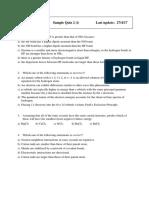 Chem1901 Sample Quiz 2