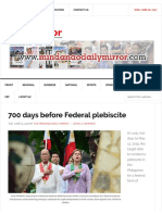 700 Days Before Federal Plebiscite - Mindanao Daily Mirror