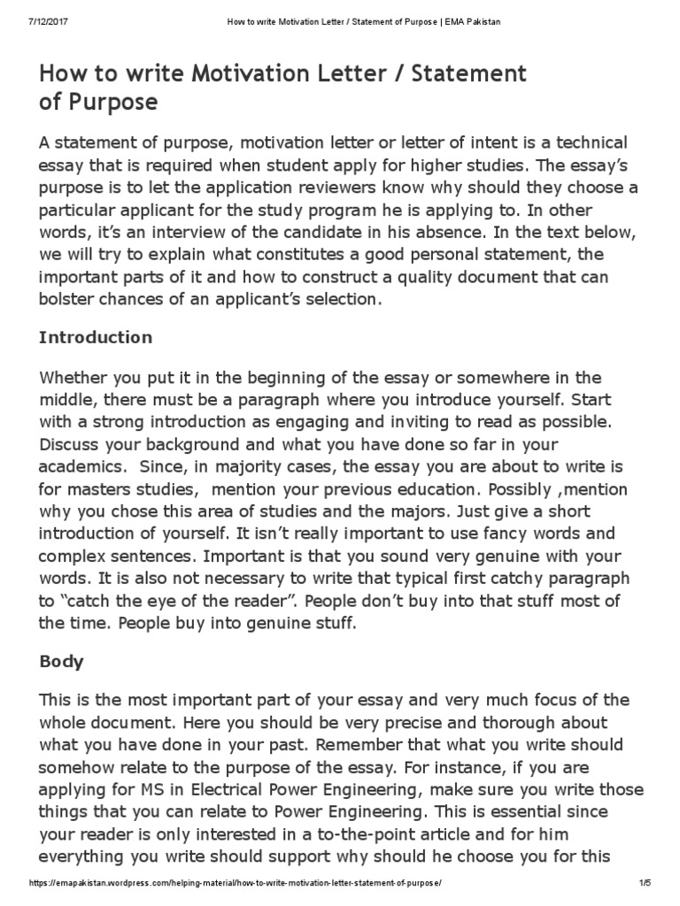 how to write motivation letter statement of purpose ema pakistan