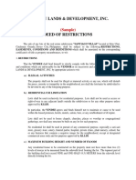 Deed of Restrictions Sample