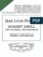 Duport, Jean-Louis - Cello Concerto No.4 in E Minor (Pf Score)